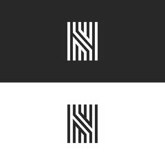 Letter N logo icon vector linear maze design. Refined print creative ornate monogram initial sign identity symbol.