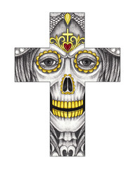 Art Skull Cross Tattoo. Hand drawing and painting on paper.