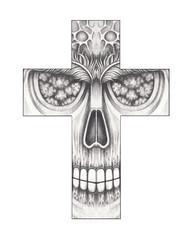 Art Surreal Skull Cross Tattoo. Hand drawing on paper.
