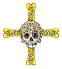 Art  Jewelry Design Hi End Skull Cross.Hand drawing and painting on paper.