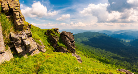 beautiful mountain scenery in summer. gorgeous view from rocky cliff in to the valley. amazing Carpathian landscape