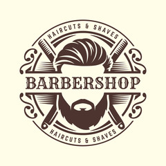 Barbershop logo template, vintage or retro style, with bearded man and barber tools