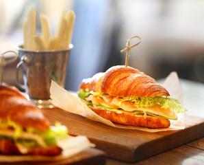Macro photo tasty big sandwiches, fish and chips