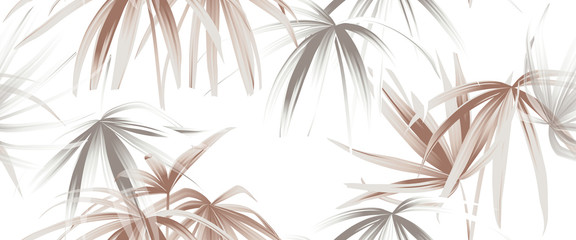 Tropical plant seamless pattern, rose gold and white palm leaves on white background