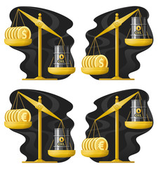Libra. Oil price rate up and down. Dollars and oil barrel. Euro and oil barrel. Vector illustration. Elements is grouped.
