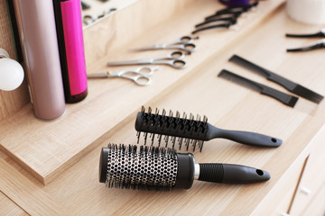 Hairdresser's tools on table, closeup