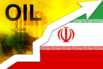 Fuel price increase. Iranian flag, upward arrow as a symbol of rising oil prices.