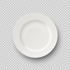 Vector realistic porcelain plate isolated on transparent background.