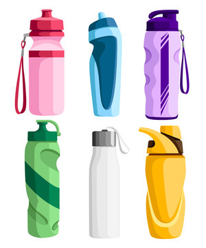 Collection of sport bottles. Bicycle plastic bottle. Outdoor activities. Different forms of water containers. Vector illustration isolated on white background