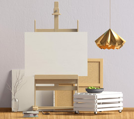 Modern interior design in Scandinavian style with coffee table and easel. Mock up poster. 3D illustration.