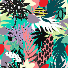 seamless beautiful artistic bright tropical pattern with banana, Syngonium and Dracaena leaf, summer beach fun, colorful original stylish floral background print, fantastic forest