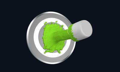 Farbe ins Leben! grüner Farbstrahl auf Zielscheibe. 3d render