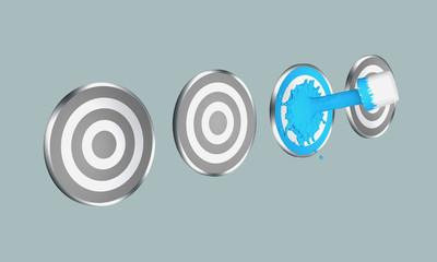 blauer Farbstrahl auf Zielscheibe. 3d render