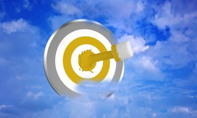 Farbe ins Leben! gelber Farbstrahl auf Zielscheibe im Wolkenhimmel. 3d render