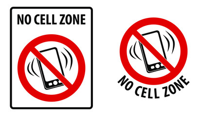 No cell zone sign. Simple black lines drawing of mobile phone symbol in red crossed circle. Rectangle and round version.