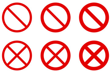 Prohibition sign (no symbol) - red circle with diagonal cross. Versions with different width, single and double crossing.
