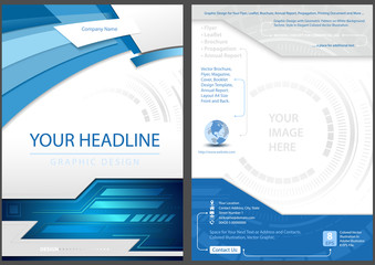 Flyer Template Front and Back Design in Blue Tech Style - Modern Graphic Illustration, Vector