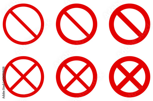 Prohibition Sign No Symbol Red Circle With Diagonal Cross