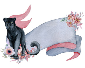 Watercolor ribbon with black panther, floral bouquets Hand drawn banner