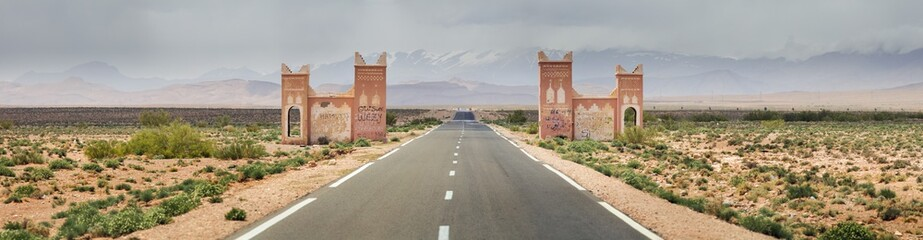 panorama of highway with gate in Morocco