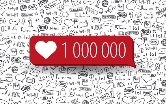 1000000 Likes. Social Media banners with hand draw doodle background. Vector illustration