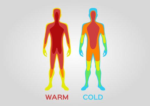 Body temperature vector / warm cold