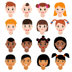 Childs portrait vector kids character girls or boys face with hairstyle and cartoon person with various skin tone illustration set of children facial features isolated on white background