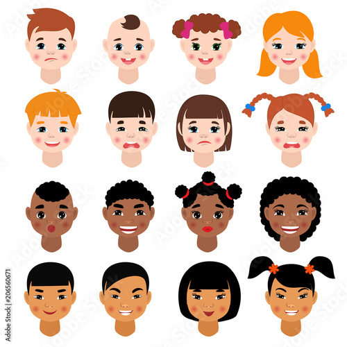 Childs Portrait Vector Kids Character Girls Or Boys Face With