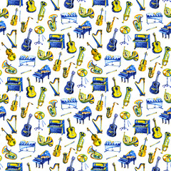 Watercolor music pattern. Seamless background with musical instruments.