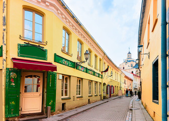 Ancient street in Old city center in Vilnius Lithuania