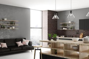 Stylish light kitchen interior