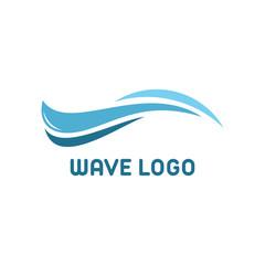 Simple Cute Blue Wave logo template vector