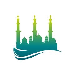Colorfuly Mosque Logo icon vector Illustration design template