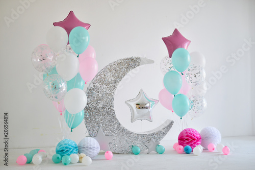 A Lot Of Balloons Red Blue And White Colors Decorations For Holiday Party Birthday Ideas