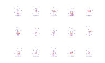 Set of drink glasses line icons. Vector illustration