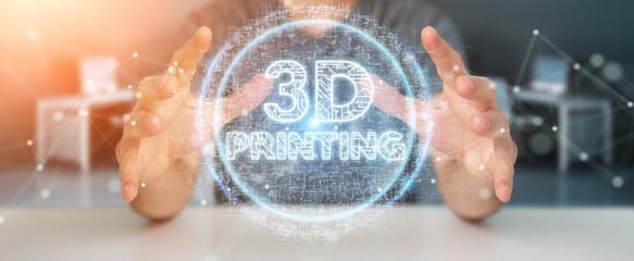 Businessman using 3D printing digital hologram 3D rendering
