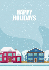 Greeting poster with snowy street. Merry Christmas.