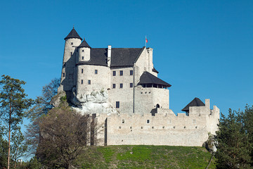 BOBOLICE, POLAND - APRIL 28, 2018:Ruins of a Gothic castle in Bobolice, Poland. Castle in the village of Bobolice, Jura Krakowsko-Czestochowska. Trail of the Eagle's Nests.