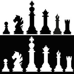 Set of icons of chess pieces. Their names queen, king, rook, bishop, knight, pawn. Black and white. Vector Illustration