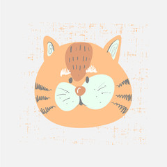 Hand drawn vector illustration of a cute funny tiger face. Scandinavian style flat design. Concept for children print.