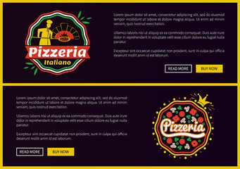 Pizzeria Italiano Websites Set Vector Illustration