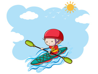 A Boy Kayaking on Sunny Day