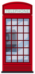 A Red Telephone Booth on White Background