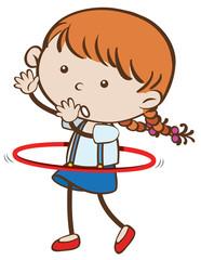 A Girl Playing Hula Hoop