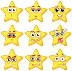 A Set of Star with Facial Expression