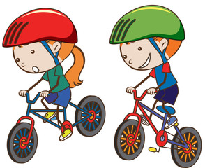 Doodle Kids Riding Bicycle on White Background