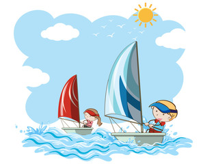 Sailboat Competition on White Background