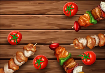 Kebab Barbecue on Wooden Background