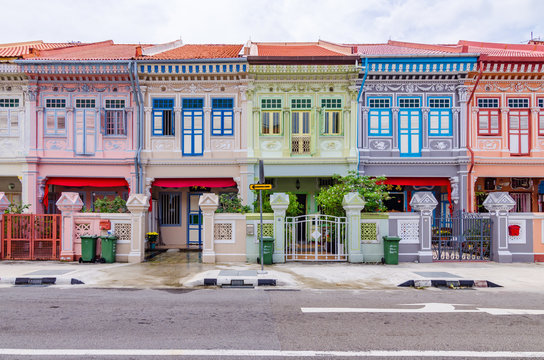 "Colourful ""Peranakan"" House. The word 'Peranakan' used by the local people of the Malay Archipelagos to address foreign immigrants whom established families in the Straits of Southeast Asia."