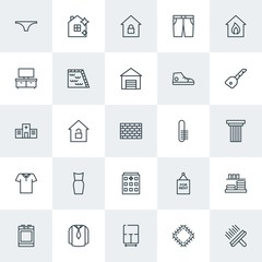 Modern Simple Set of clothes, buildings, housekeeping Vector outline Icons. Contains such Icons as  jar,  young,  house,  equipment,  sew and more on white background. Fully Editable. Pixel Perfect.